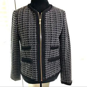 Ann Taylor Classic Tweed Blazer Zip Front Jacket